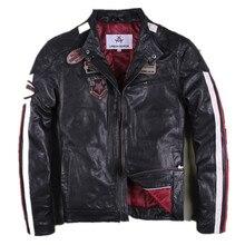 2017 мужские черные кожаные мотоциклетные куртка Стенд воротник плюс Размеры xxxl slim fit Для мужчин короткие байкерская куртка Прямая продажа с фабрики Бесплатная доставка