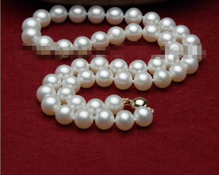 Collier en perles d'eau douce blanches AAA + 9-10mm de meilleure qualité