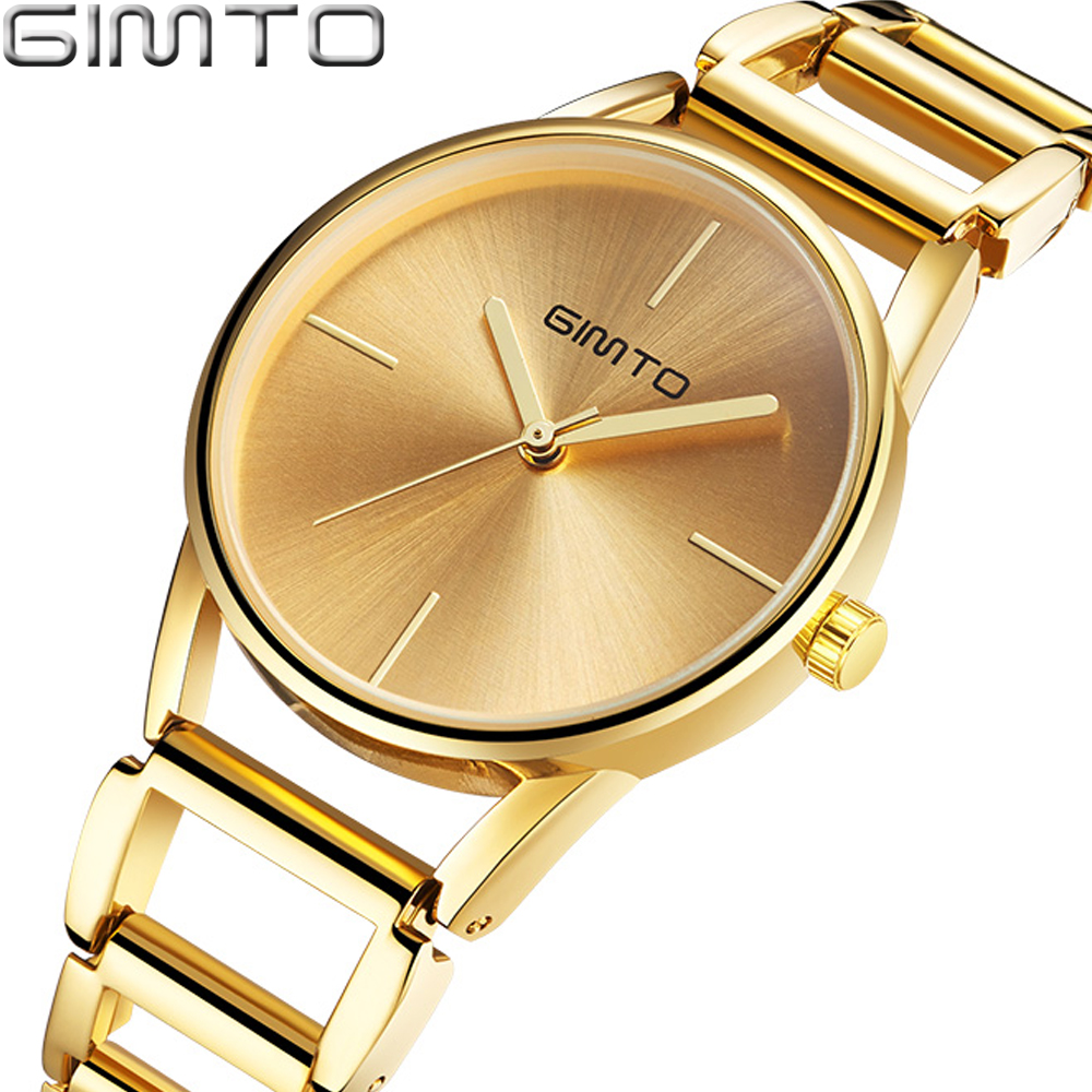 GIMTO Brand Women Gold Bracelet Watches Hollow Steel Dress Quartz Ladies Wrist Watch Female Luxury Clock relogio feminino Montre sanda gold diamond quartz watch women ladies famous brand luxury golden wrist watch female clock montre femme relogio feminino