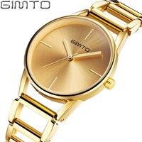 GIMTO Brand Women Gold Bracelet Watches Hollow Steel Dress Quartz Ladies Wrist Watch Female Luxury Clock