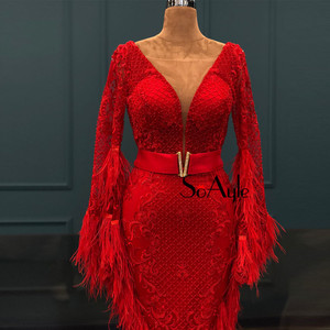 Image 2 - SoAyle Luxurious Red Evening Dresses 2018 V neck  Long Sleeves Vestidos de festa longo Feathers Beading Fashion Prom Dresses