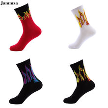 Men Fashion Hip Hop Design Red Flame Pattern Crew Socks Lifelike Jacquard Fire Socks Classic Street Skateboard Cotton Long Socks(China)