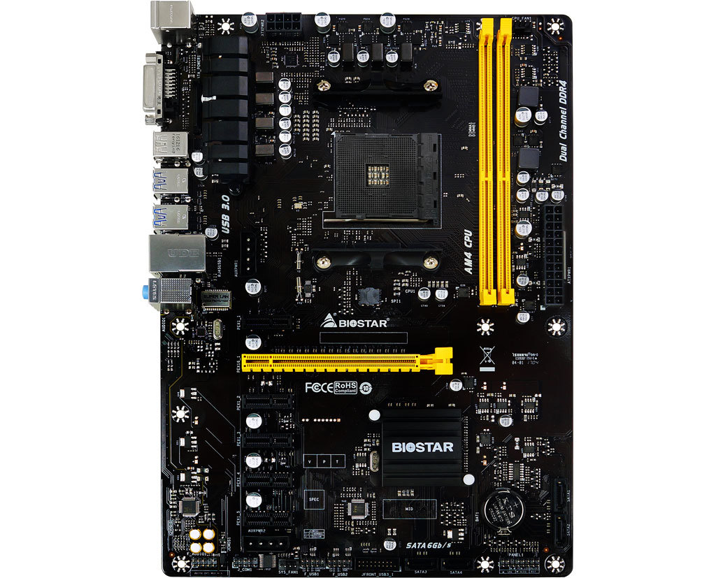 BIOSTAR Original board TB350-BTC AM4 <font><b>B350</b></font> Dig Mining Motherboard Supports 6 Graphics Cards A6-9500 6PCI-E Graphics slot image