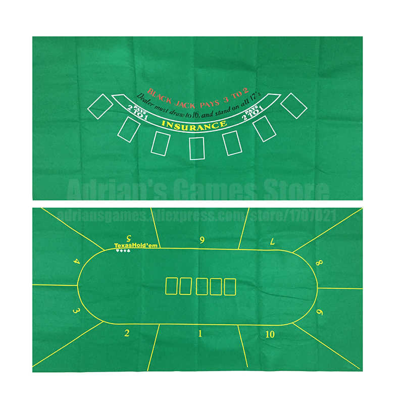 180*90cm 10 Players 2 IN 1 Double Sides Texas Poker & Blackjack Table Cloth Poker Tapis Poker Layout Felt