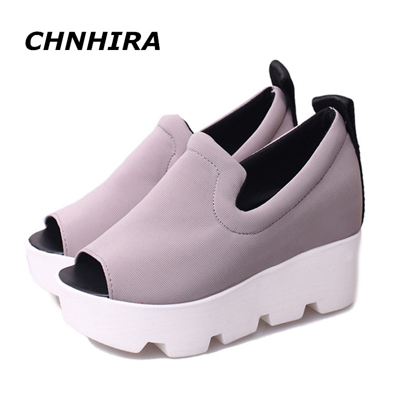 цены Shoe Woman Platform Women Sandals 2016 Summer Wedge Thick High Heel Letter Open Toe Slip On Women's Shoe#HR646