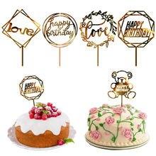 1pc Happy Birthday Cake Topper Card Banner Acrylic DIY Wedding Party Decoration