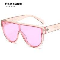 HsAblaze Gözlük 2018 Tek Parça Lensler Marka Güneş Kadınlar Şeffaf Moda Gözlük Stil Temizle Şeker Renk Güneş Gözlükleri