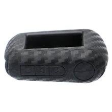 Caso de silicone carbono capa caso chave escudo para starline a92 a94 a62 a64 caso chaveiro lcd 2 vias sistema alarme do carro controle remoto