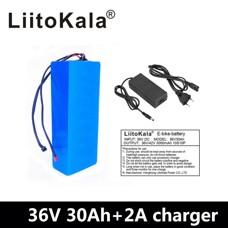 LiitoKala 36V 30AH batterie au lithium 36v 30ah batterie pour vélo électrique utilisation 3.7V 3000mah cellule avec 30A BMS + 42V chargeur