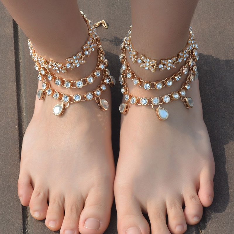 Trendy Luxury Three Layers Water Drop Crystal Flowers Anklets for Women Girls Beach Barefoot Sandals Statement Arm Chain Jewelry