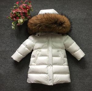 Image 5 - Classique chaud vêtements dextérieur à capuche longue vers le bas manteau marque Design enfants doudoune grand col de fourrure naturelle Parkas champagne or