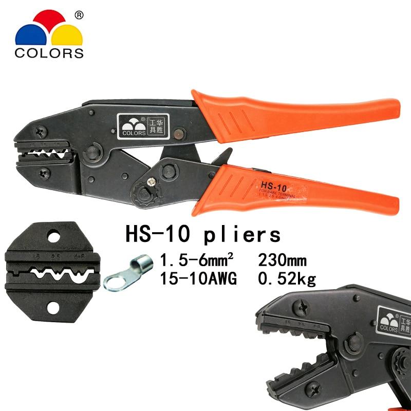 Handwerkzeuge Kraftvoll Farben Hs-10 Draht Crimpen Zange Für Nicht Isolierte Terminals Clamp 1,5-10mm2 15-7awg W Form Europäischen Stil Crimpen Hand Werkzeuge