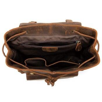Nesitu High Quality Vintage Brown Coffee Genuine Crazy Horse Leather Women Men Backpacks Real Skin Travel Bags M8507