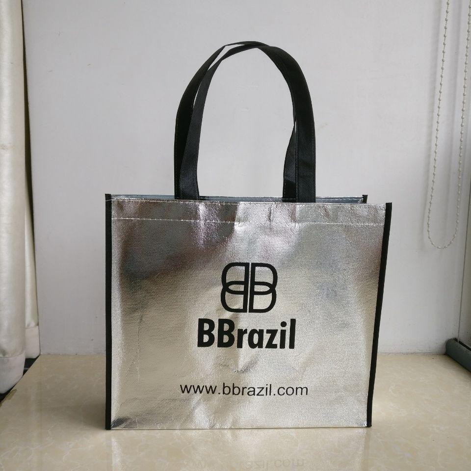 Bagaj ve Çantalar'ten Alışveriş Poşetleri'de 500 adet/grup 30x35x8cm özel gümüş lazer laminasyon promosyon bez çantalar sigara dokuma alışveriş çantaları logo baskılı toptan'da  Grup 3