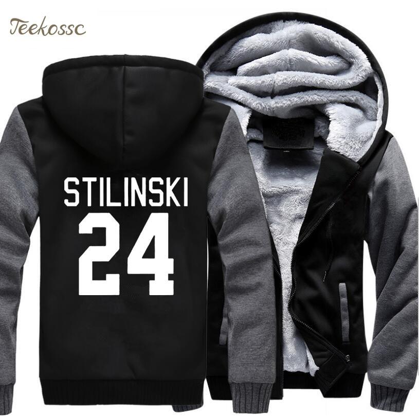 Wolf Stilinski 24 Thick Men Sweatshirt 2018 New Spring Winter Warm Fleece Zipper Hooded Hoodies Brand Clothing TV Show Jacket
