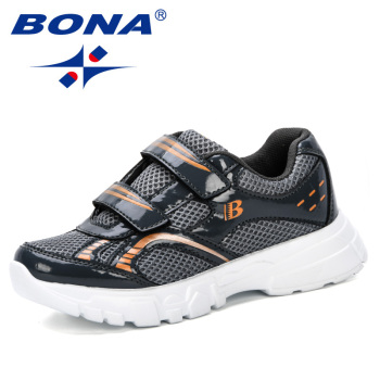 BONA 2019 New Style Children Outdoor Shoes Girls Boys Breathable Sneakers Kids Sport Running Shoes Kids Casual Shoes Comfortable недорого