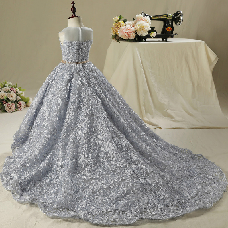 Silver Gray Lace Flower Girl Dresses Short Front Long Back Sleeveless Dress for Wedding Long Party Gown long curly green synthetic lace front cosplay party wig
