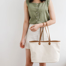 Large Capacity Beach Canvas Totes For Ladies Simple Pu Leather Shoulder Strap Bag Female Solid Color Wild Shoulder Bags Female(China)