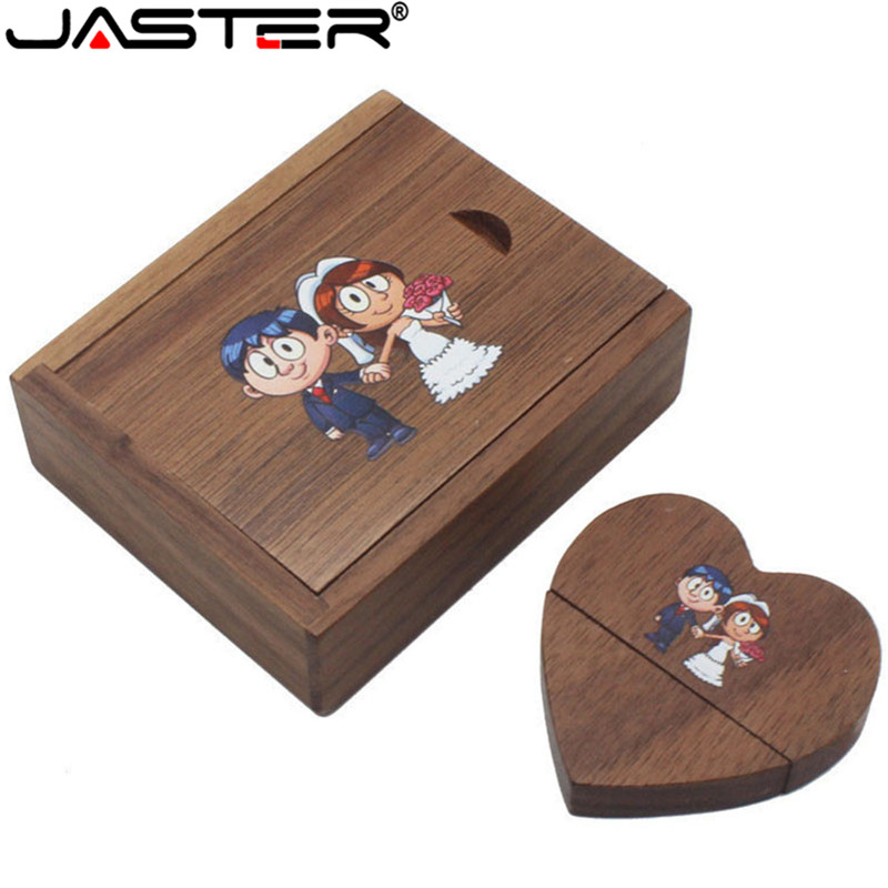 JASTER Wooden Heart Usb + Gift Box Usb Flash Drives U Disk Pendrive 4GB 8GB 16GB 32GB 64GB Wedding Gift (over 10 PCS Free LOGO)