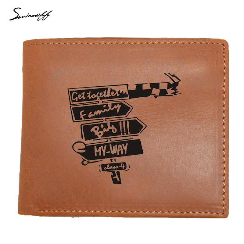 100% Genuine Leather Men Wallet Small Creative road sign Men Walet Portomonee Male Short Coin Purse Carteira