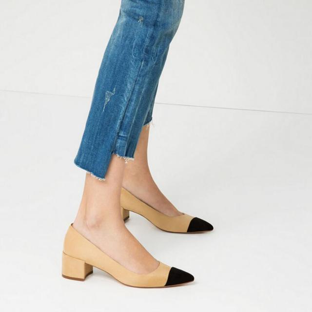 {D & h} simple bombas das mulheres moda patchwork das mulheres do salto meados sapatos de salto quadrado dedo apontado alta saltos senhora sapatos único rasas