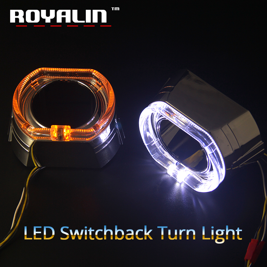 ROYALIN 2.5 LED DRL Angel Eyes Halo Kit Shrouds For BMW Mini X5-R W/ Switchback Amber Turn Signal Light Xenon Lens Bezel Masks royalin led drl projector lights shrouds double cob angel eyes lotus halo rings turbine white blue red headlights lens masks