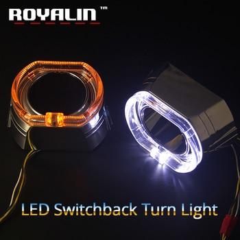 ROYALIN 2.5 LED DRL Angel Eyes Halo Kit Shrouds For BMW Mini X5-R W/ Switchback Amber Turn Signal Light Xenon Lens Bezel Masks