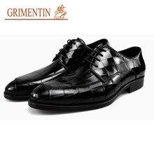 GRI Для мужчин Олово Свадебные модельные туфли Для мужчин туфли-оксфорды для мужчин из натуральной кожи на шнуровке модные Бизнес формальная обувь черный