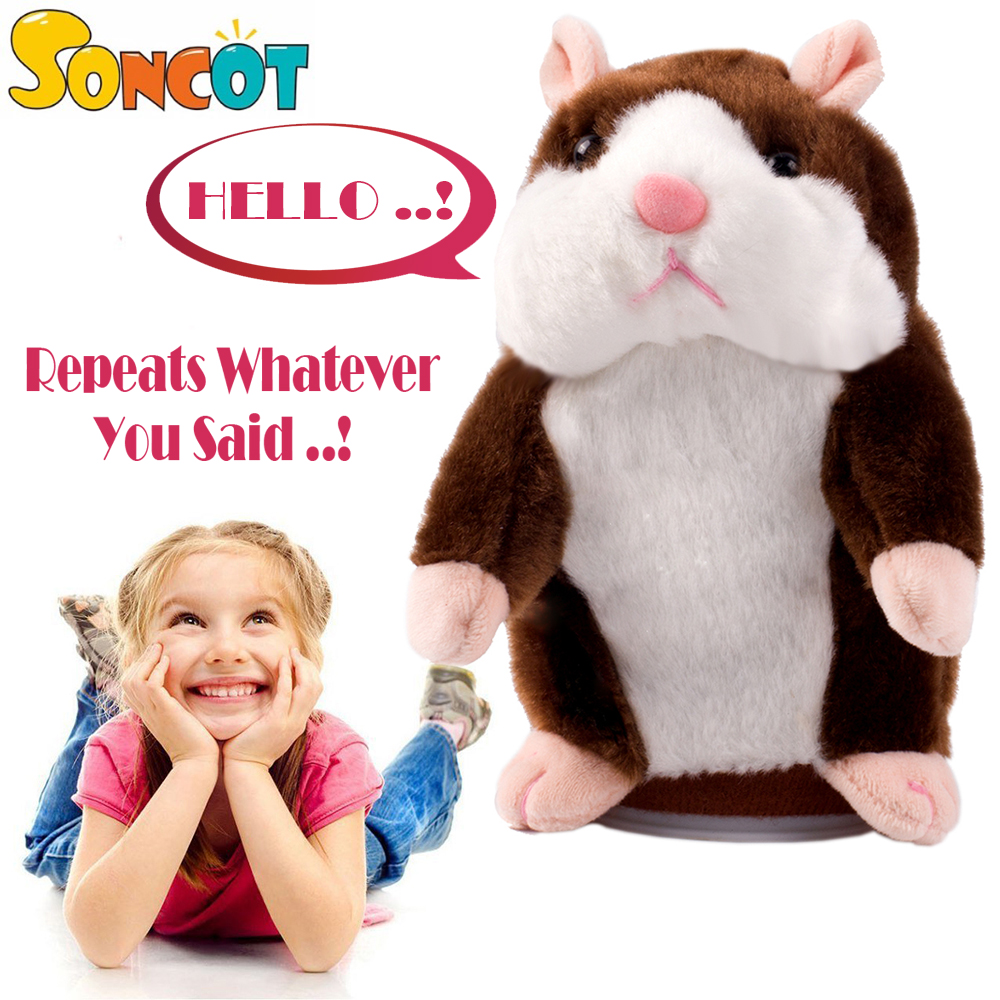 Talking Pet Hamster Electronic Animal Plush Toy - Mimics and Repeats After Words & Sounds - Special Birthdays Gift for Kids ysdx 811 video version mimicry pet talking hamster plush toy for kids grey light yellow pink