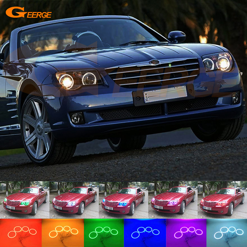 For Chrysler Crossfire 2004 2005 2006 2007 2008 Excellent Multi-Color Ultra bright RGB LED Angel Eyes kit Halo Rings for chrysler voyager grand voyager 2005 2006 2007 excellent ultra bright rgb multi color led angel eyes halo rings led light