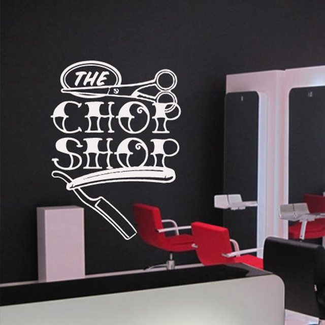 Man barber shop sticker name chop bread decal haircut posters vinyl wall art decals decor windows