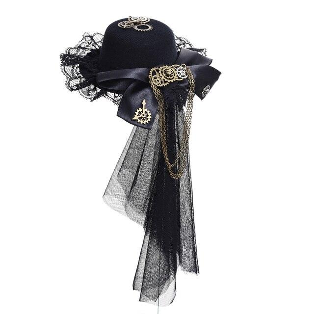 Steampunk Lace Veil Gear Tassels Hair Clip Punk Gears Bow-tie Mini Top Hat Cosplay Gothic Lolita Fedoras Headwear Accessories