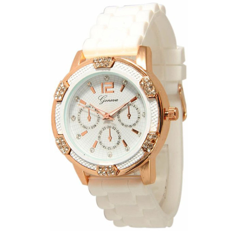 Durable 1Pcs Summer Style Rose Gold Chronograph Silicone Crystal Rhinestones Quartz Watch (White,Black) Wholesale Fast Shipping lg watch style w270 rose gold