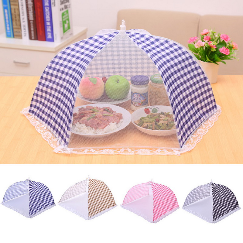 Hoomall 1pc Kitchen Folded Mesh Food Cover Anti Fly Mosquito Umbrella Hygiene Grid Style Food Dish Cover BBQ Picnic Kitchenware(China)