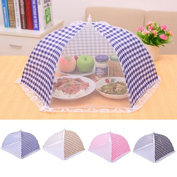 Hoomall 1pc Kitchen Folded Mesh Food Cover Anti Fly Mosquito Umbrella Hygiene Grid Style Food Dish Cover BBQ Picnic Kitchenware