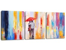 3 Panels Canvas Prints Lovers Walk On Street With Red Umbrella Oil Painting Landscape