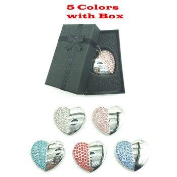 Lover's gift metal diamond heart usb flash pen drive 4g 8g 16g 32gb 64GB flash memory stick necklace disk + Beautiful Gift Box