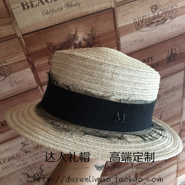 Summer new linen flat straw lace elegant British female hat
