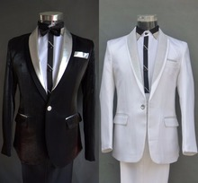 (Jacket + pants ) Suit male costume party wedding groom dress men's suits black white prom emcee stage photo studio formal