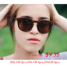 Round Wood Bamboo Polarized Sunglasses for Men and Women Clear Vision  With Leather Case Free Shipping цена