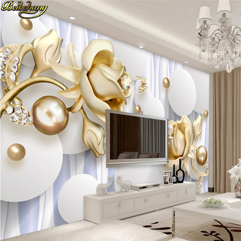 beibehang Custom 8D/5D wallpaper large mural wall stickers modern simple 3D circle rose flowers backdrop decorative painting 1897art large murals3d can be custom made furniture decorative wallpaper house ornamentation decor wall stickers chinese style
