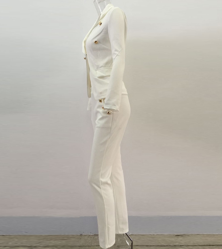 Black White Pants Suit Women Business Formal 2 Piece Pant Set Female (7)