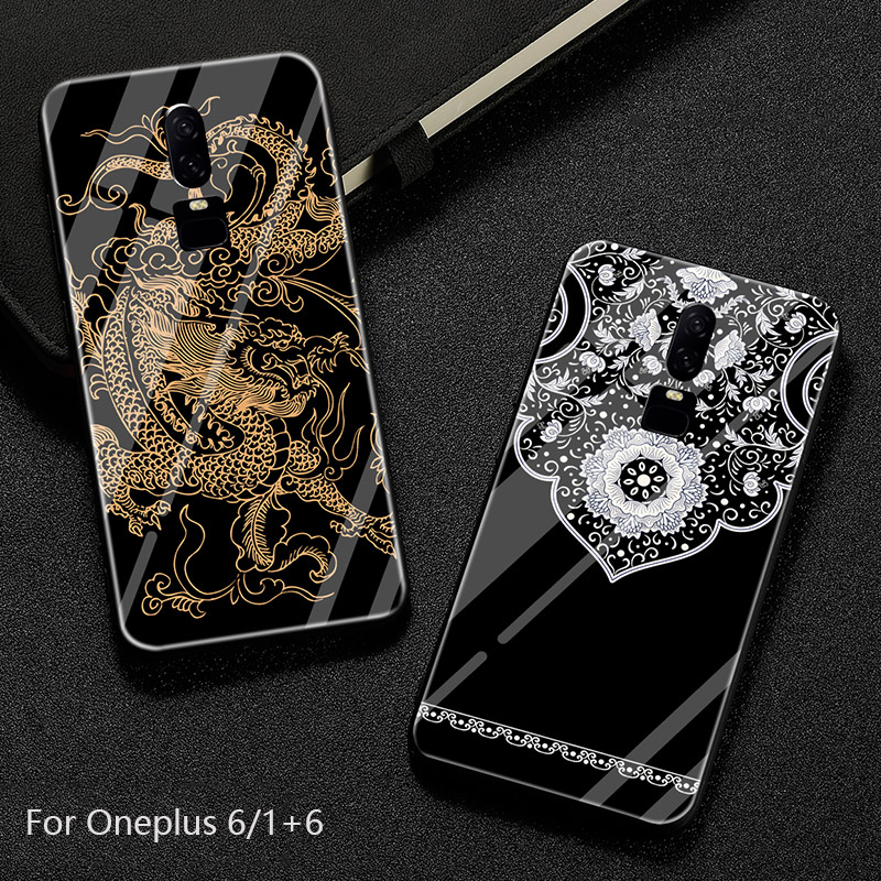 For Oneplus 6 Case,Shilg Custom Toughened Glass+TPU Back Cover Shockproof Case For Oneplus6 1+6