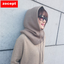 Scarf Hat Head-Cap The-Neck-Hats Knitted Cashmere Warm Winter Women Wool-Blend Soft Solid