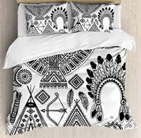 Племенной постельное белье, индеец перо руководитель группы Этническая вигвама палатка лук и стрелы Книги по искусству принт, 3 предмета По