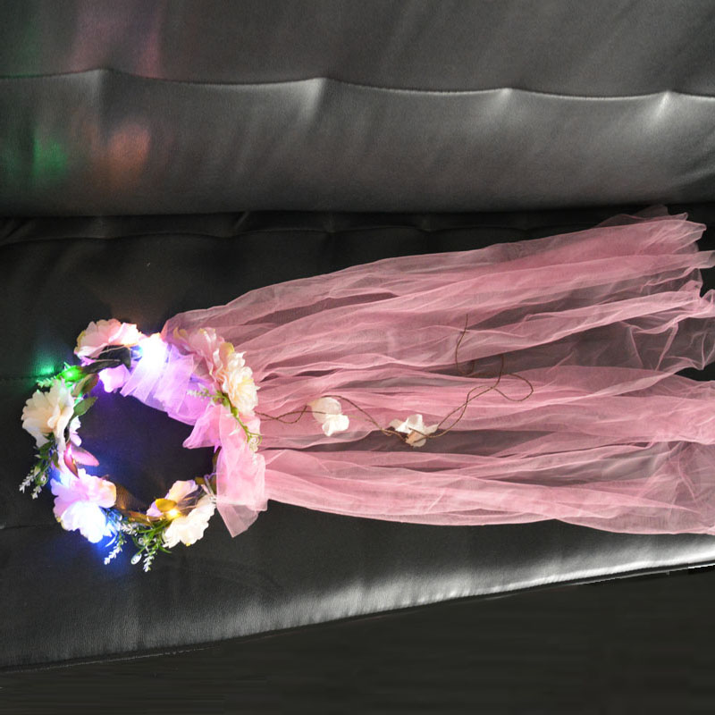 Party Glow Fée fleur de mariée Fille Femmes Lumière Couronne Clignotant Bandeau Accessoires led de Noël de Fête D'anniversaire De Mariage Accessoires