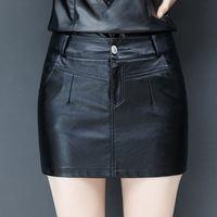 Mini PU Leather Skirt Women Faldas Casual Streetwear High Waist Leather Skirt Jupe Femme Ladies Sexy Mini Bodycon Skirts Q1074