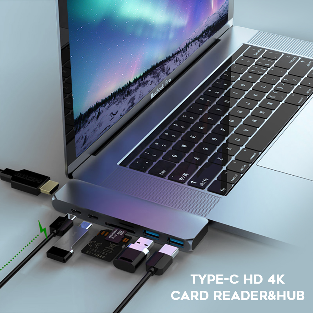 Image 2 - 7 in 1 USB 3.1 Type C Hub Naar HDMI Adapter 4 K Thunderbolt 3 USB C Hub met Hub 3.0 TF SD Reader Slot PD voor MacBook pro 2018-in USB Hubs from Computer & Office