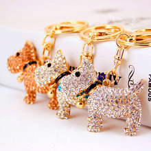 RE Women key chains for handbags crystal rhinestone dog poodle keychain purse pendant car holder ring F40