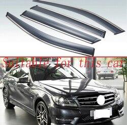 Für Mercedes-Benz C-Klasse (W204) c200 C220 C250 C300 2007-2014 Kunststoff Außen Visor Vent Shades Fenster Sonne Regen Schutz Deflektor 4 stücke